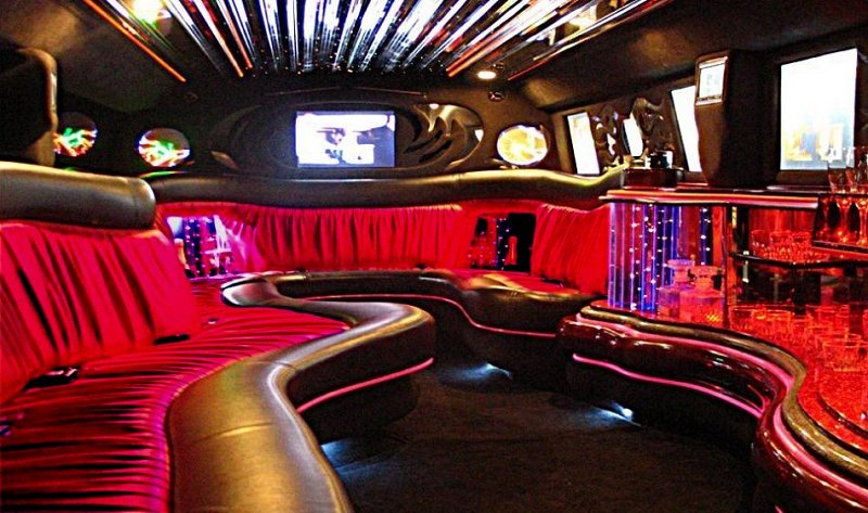 Interior of our black Limo